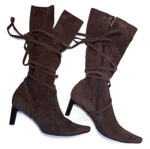 NINE WEST Genuine Suede Tie Wrap High Heel Boots